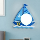 Dome Wall Mounted Lamp Cartoon Opal Glass LED Blue Surface Wall Sconce with Wood Sailboat Design in Warm/White Light