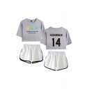 Leisure Ladies Letter The Dream Chapter Eternity Printed Short Sleeve Round Neck Regular Fitted Crop Graphic T-Shirt & Elastic Waist Tape Contrast Trim Pockets Shorts Set
