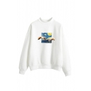 Retro Hand Galaxy Print Mock Neck Long Sleeve Relaxed Fit Pullover Sweatshirt