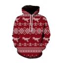 Chic Christmas Deer Printed Long Sleeve Casual Hoodie