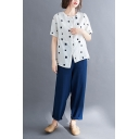 Casual Square Printed Color Block Asymmetric Hem Button Up Collarless Short Sleeve Relaxed Fit Shirt & Solid Color Pocket Ankle Length Pants Set