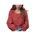 Pretty Ladies Solid Color Blouson Sleeve Square Neck Button Up Relaxed Cropped Blouse Top