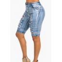 Retro Womens Blue Shorts Faded Wash Ripped Stretch Frayed Hem Rolled Cuffs Zippered Slim Fit Denim Shorts