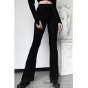 Women's Trendy Trousers Plain Ribbed High-rise Full Length Flared Elastic Waist Trousers in Black