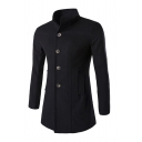 Mens Trench Coat Chic Plain Turn-down Collar Button-down Slim Fitted Long Sleeve Mid-Length Trench Coat