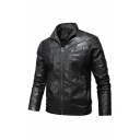 Mens Jacket Fashionable Panel Zipper down Turn-down Collar Long Sleeve Regular Fit Leather Jacket
