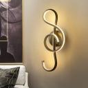 Black/White Music Note Wall Mounted Lamp Modernity LED Metal Sconce Light in Warm/White Light for Bedroom