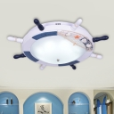 Frosted Glass Domed Ceiling Light Nautical LED Flush Mount Lighting with Rudder Design in Blue