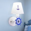 Conical Wall Lighting Ideas Minimalist Fabric 1-Head Kids Room Wall Mount Light with Rudder Deco in Blue