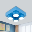 Toy Brick Acrylic Close to Ceiling Lamp Simplicity Red/Yellow/Blue LED Flush Mount Light for Children Room
