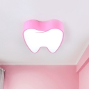 Acrylic Tooth Shape Flush Light Fixture Cartoon Pink/Yellow LED Close to Ceiling Lamp for Corridor