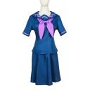 Creative Contrasted Short Sleeve Sailor Collar Tied Flower Embroidered Fit Top & Short Fit & Flared Skirt JK Uniform Set in Blue