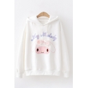Girls Kawaii Letter My Melody Rabbit Embroidered Bow Patched Long Sleeve Drawstring Relaxed Hoodie