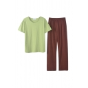 Simple Womens Solid Color Crew Neck Short Sleeve Regular Fit T-Shirt & Elastic Waist Full Length Straight Leg Pants Pajama Set in Green