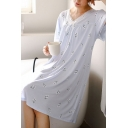 Blue Pretty All Over Printed Lace Trim Bow Front Pleated V Neck Butterfly Sleeve Oversized Midi T-Shirt Nightdress for Women