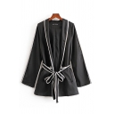Cool Girls Contrast Piped Long Sleeve Open Front Bow Tied Waist Relaxed Jacket in Black