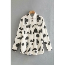 Chic Girls All-over Abstract Printed Long Sleeve Point Collar Button Up Chest Pocket Relaxed Fit Shirt Top in White