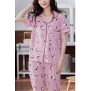 Fancy Womens All Over Heart Printed Contrast Piping Button Closure Chest Pocket Lapel Collar Short Sleeve Loose  Shirt & Full Length Pants Pajama Set in Pink