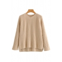 Chic Plain Slit High Low Hem Round Neck Long Sleeve Oversized Rib Knit Pullover Sweater Top for Ladies