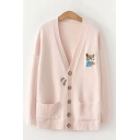 Stylish Womens Fox Embroidered Two-Pocket Button Up V Neck Long Sleeve Loose Knit Cardigan Sweater