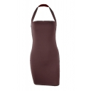 Edgy Looks Womens Solid Color Halter Open Back Short Tight Tank Dress