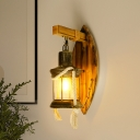 1 Bulb Sconce Light Fixture Farm Lantern Clear Glass Wall Sconce Lighting in Antique Bronze with Leaf Bamboo Backplate