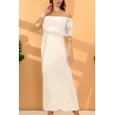 Elegant White Sheer Lace Panel Short Sleeve Off the Shoulder Maxi A-line Evening Dress for Women