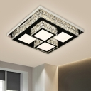 Square LED Ceiling Lighting Minimalist Faceted Crystal Nickel Flush Mount Lamp Fixture
