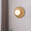 Ball Bedside Surface Wall Sconce Opal Glass 1 Bulb Modern Wall Mount Lamp Pleated Circular Backplate in Gold