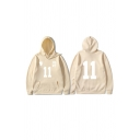 Basic Mens Hoodie Footprint Number 11 Chinese Letter Pattern Kangaroo Pocket Cuffed Drawstring Long Sleeve Relaxed Fitted Hoodie