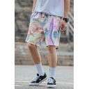 Colorful Mens Shorts Flower Grass Oil Painting Knee-Length Regular Fitted Drawstring Waist Relaxed Shorts