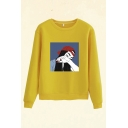 Trendy Cap Girl Pattern Round Neck Long Sleeve Regular Fit Pullover Sweatshirt