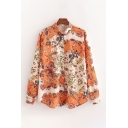 Holiday Womens All Over Paisley Printed Long Sleeve Turn Down Collar Button Up Curved Hem Loose Shirt Top in Orange