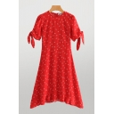 Glamorous Womens Ditsy Flower Printed Tied Short Sleeve Crew Neck Short A-line Dress in Red