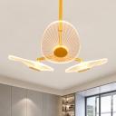Oval Chandelier Light Fixture Modernist Modern LED Gold Suspension Lighting in Warm/White Light