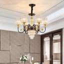 Drum Ceiling Light Minimal Clear Crystal 6/8-Light Black Finish Chandelier Lighting Fixture with Curvy Arm
