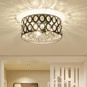 Cylinder Flush Ceiling Light Modernism Clear Crystal 3 Bulbs Black Flushmount Lighting
