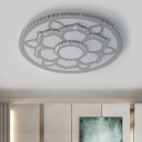 Modern Flower Flush Ceiling Light Beveled Crystal Living Room LED Flush Mount Fixture in Stainless-Steel, Warm/White Light