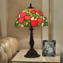 Apple Nightstand Lamp Mediterranean Stained Glass 1 Light Green and Red Night Lighting with Bowl Shade for Bedroom