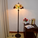 Copper Domed Floor Standing Lamp Tiffany 3 Bulbs Hand Cut Glass Reading Floor Lighting with Leaf and Fruit Pattern