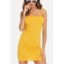 Sexy Backless Halter Neck Simple Plain Mini Bodycon Slip Dress