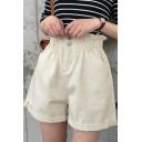 Womens Elastic Waist High Rise Summer Simple Plain Wide-Leg Casual Denim Shorts