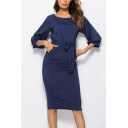 Fashion 3/4 Length Sleeve Round Neck Belt Waist Plain Midi Pencil Dress with Pockets