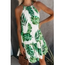 Vintage Leaves Printed Spaghetti Straps Sleeveless Mini A-Line Dress