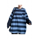 Streetwear Fake Two Pieces Striped Chest Pocket Patchwork Long Sleeve Crew Neck Oversized Tunic Pullover Sweatshirt