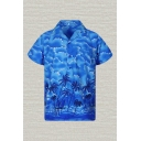 Fashion Shirt Cartoon Beach Cloud Trees Sun Pattern Button up Pocket Regular Fitted Short-sleeved Notch Collar Shirt for Men