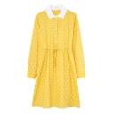 Popular Ladies Polka Dot Printed Drawstring Waist Button Front Peter Pan Collar Long Sleeve Short A-Line Dress in Yellow
