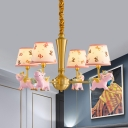 Cone Chandelier Nordic Fabric 4 Heads Pink Butterfly Ceiling Hang Fixture with Unicorn Design