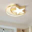 Star and Moon Flush Ceiling Light Simplicity Acrylic LED Gold Lighting Fixture in Warm/White Light for Bedroom