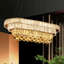 Elongated Layers LED Island Pendant Modern Opulent Crystal Dining Room Hanging Light in Chrome